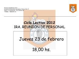 Ciclo lectivo 2012 Escuela Educacion Secundaria Tecnica …