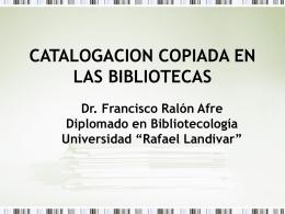 CATALOGACION COPIADA EN LAS BIBLIOTECAS