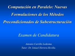 Computacion en Paralelo: Nuevas Formulaciones de los