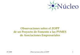 Observaciones sobre el ZOPP de un Proyecto de Fomento …