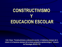 CONSTRUCTIVISMO Y EDUCACION ESCOLAR