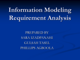Information Modeling: Requirement Analysis