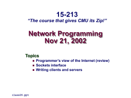 Network Programming - Carnegie Mellon University