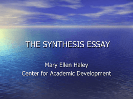 THE SYNTHESIS ESSAY - Bloomfield College
