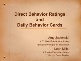 Daily Behavior Cards RtI/PBS - North Carolina Public Schools