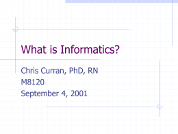 What is Informatics? - Columbia University