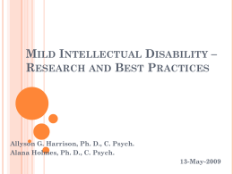 Mild Intellectual Disability – Research and Best Practices