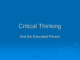 Critical Thinking Notes
