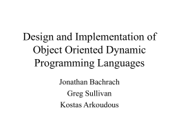 Design and Implementation of Object Oriented Dynamic