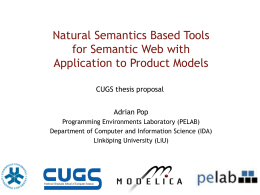Natural Semantics Based Tools for Semantic Web with