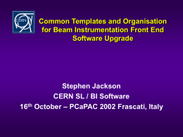 Common Templates and Organisation for Beam …