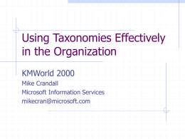 Using Taxonomies Effectively in the Organization