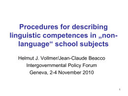 "Procedures for describing linguistic competences in ""non"