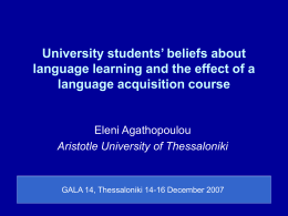 University students' beliefs about language learning and