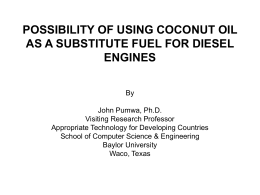 POSSIBILITY OF USING COCONUT OIL AS FUEL …