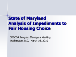 State of Maryland Analysis of Impediments to Fair …