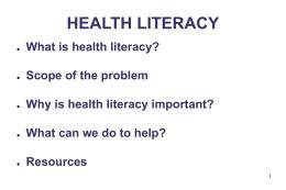 HEALTH LITERACY - Columbia University