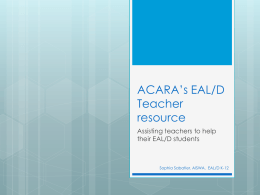 ACARA's EAL/D Teacher resource