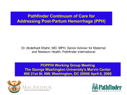 Pathfinder continuum of care for addressing PPH