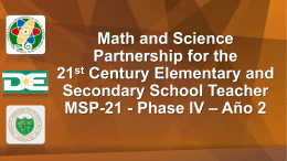 Math and Science Partnership for the 21st Century
