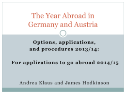 The Year Abroad in Germany and Austria