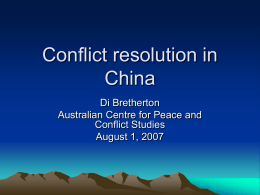 Conflict resolution in China
