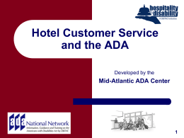 Hotel Customer Service and the ADA