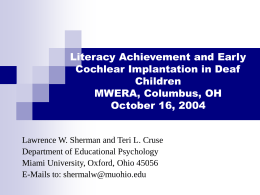 Early Cochlear Implantation and Academic Achievement