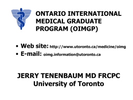ONTARIO INTERNATIONAL MEDICAL GRADUATE …