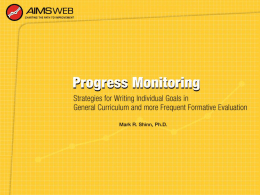 Progress Monitoring Power Point Presentation