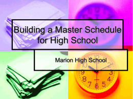 Building a Master Schedule for High School