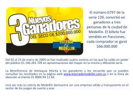 Diapositiva 1 - LOTERIA DE MEDELLIN