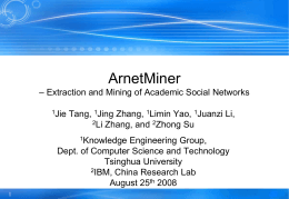 ArnetMiner– Extraction and Mining of Academic Social …