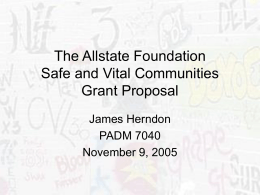 The Allstate Foundation Safe and Vital Communities …