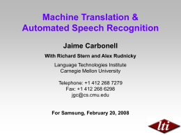 Machine Translation and Speech Recognition
