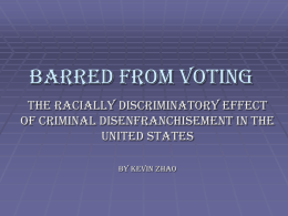 Barred from Voting - University of Minnesota Twin Cities