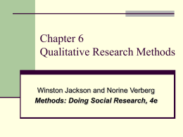 Chapter Six Qualitative Research Strategies