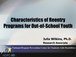 The Characteristics of Reentry Programs for Out-of