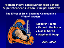 Hialeah-Miami Lakes Senior High School …