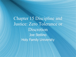 Chapter 15 Discipline and Justice: Zero Tolerance or