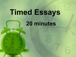 Timed Essays - Sandra Effinger -