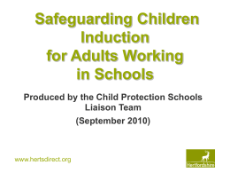 Safeguarding children induction for adults working in …