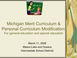 Michigan Merit Curriculum Personal Curriculum …