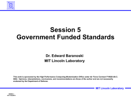 Session 5 Government Funded Standards
