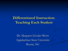 Differentiated Instruction: Teaching Each Student