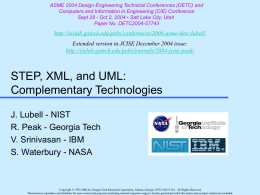 STEP, XML, and UML: Complementary Technologies