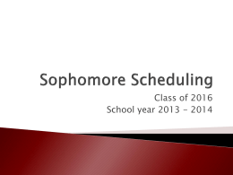 Sophomore Scheduling - Forest Hills Local School District