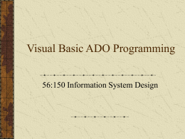 Visual Basic Programming I