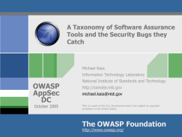 A Taxonomy of Software Assurance Tools and the …