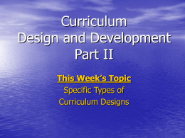 Overview of Curriculum Design and Development Part I